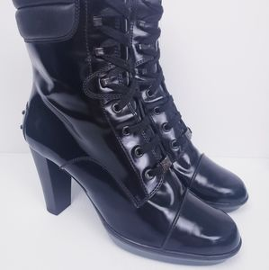 Tod's Shoes - TOD'S Black ASPEN Ankle LACE UP Heel Boots 8.5